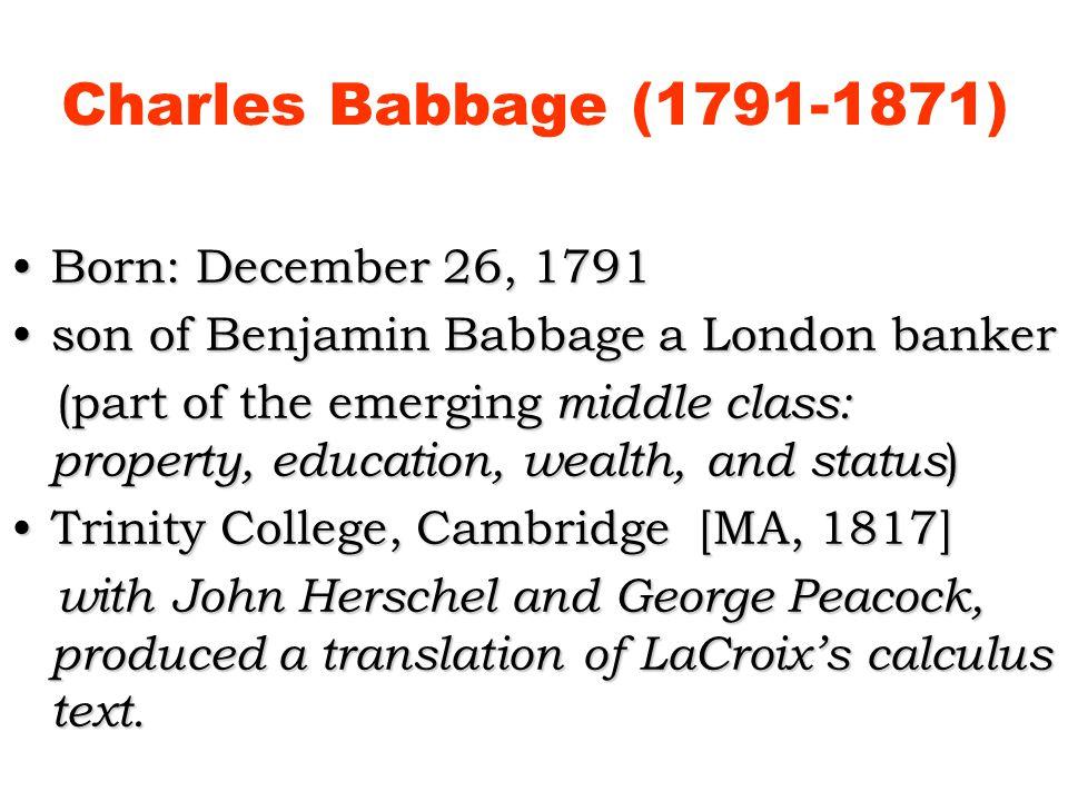Charles Babbage (1791-1871) Born: December 26, 1791