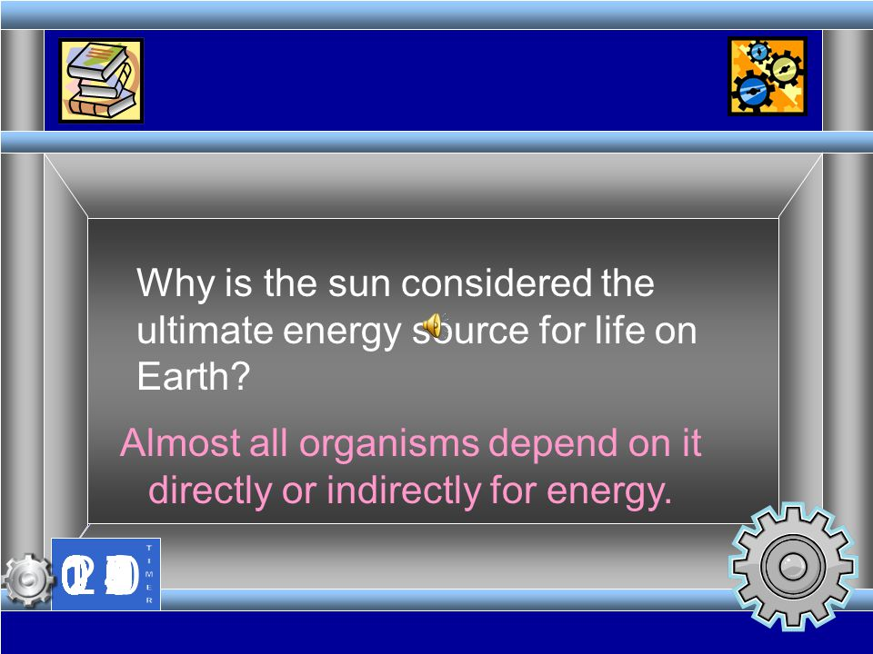 Almost all organisms depend on it directly or indirectly for energy.