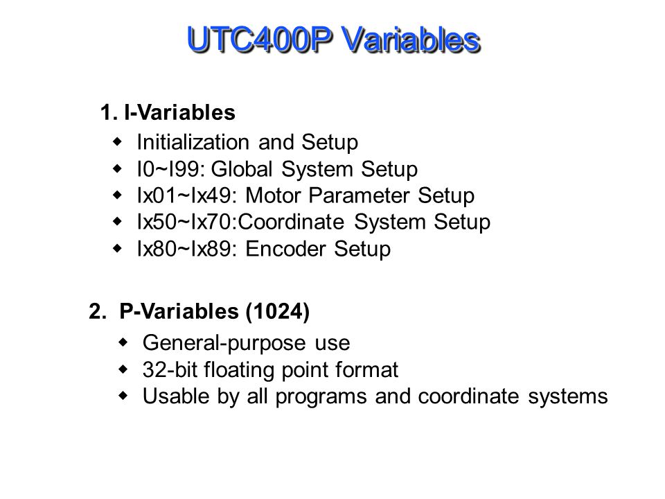 UTC400P Variables (continue)