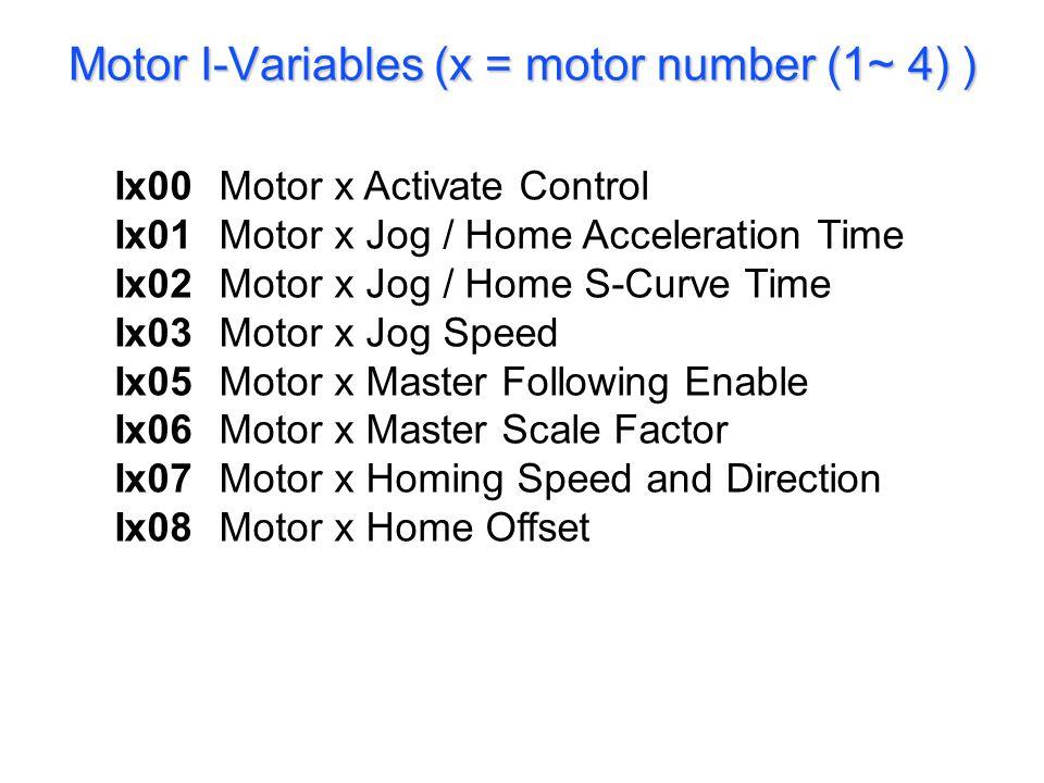 Ix09 – Motor x Flag Control
