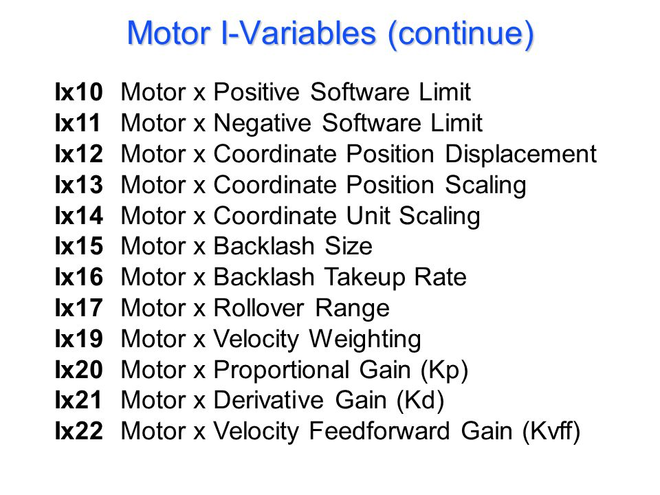 Ix23. Motor x Integral Gain (Ki) Ix24. Motor x Integration Mode Ix25