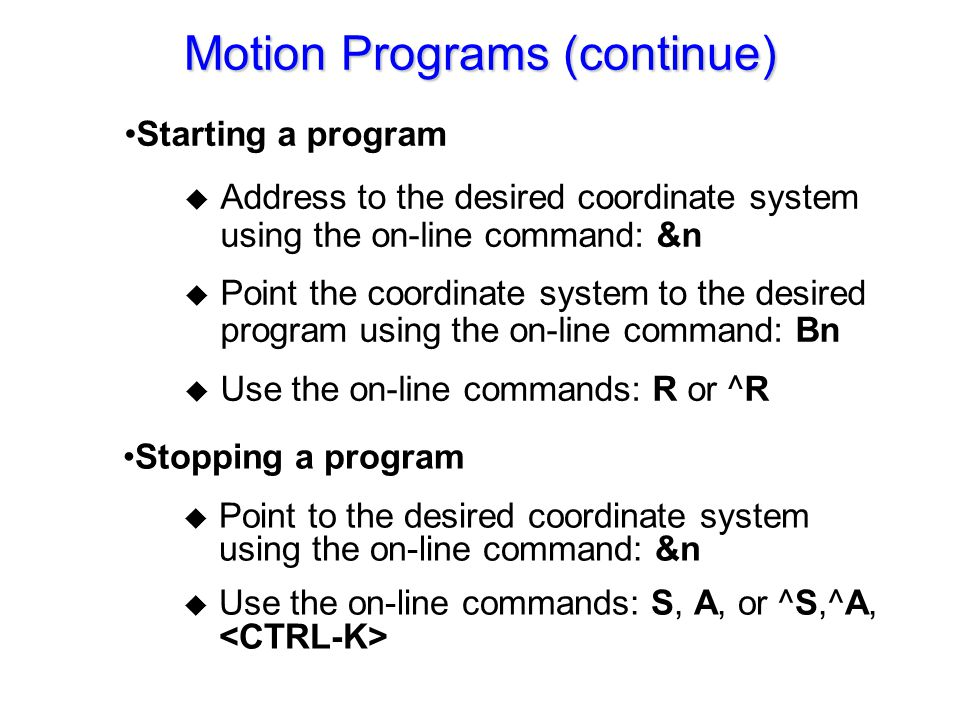 UTC400P Motion Program Commands