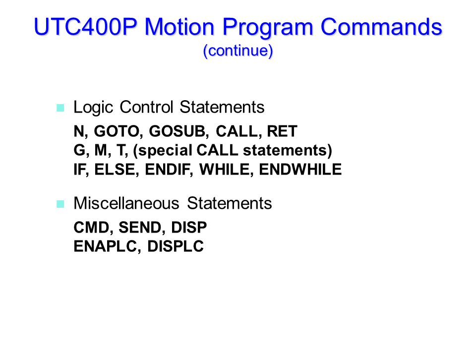 UTC400P Logic Operators used in Motion Programs and PLCs