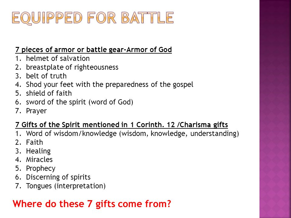Equipped for battle Where do these 7 gifts come from