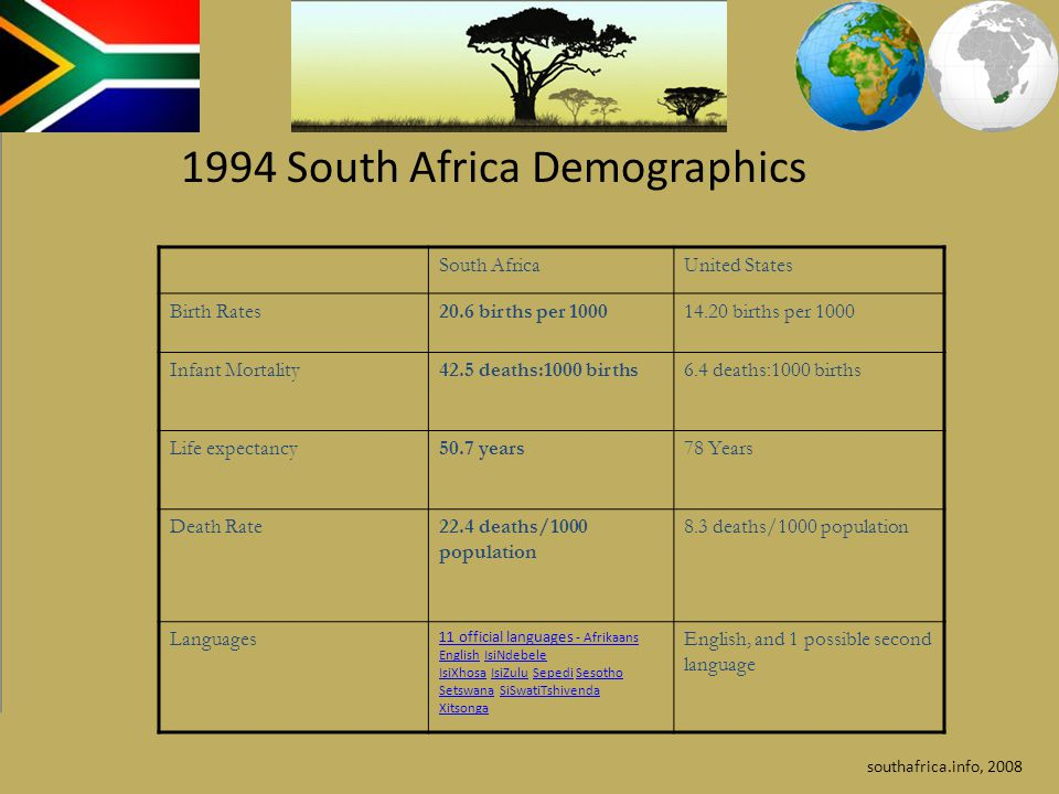 1994 South Africa Demographics
