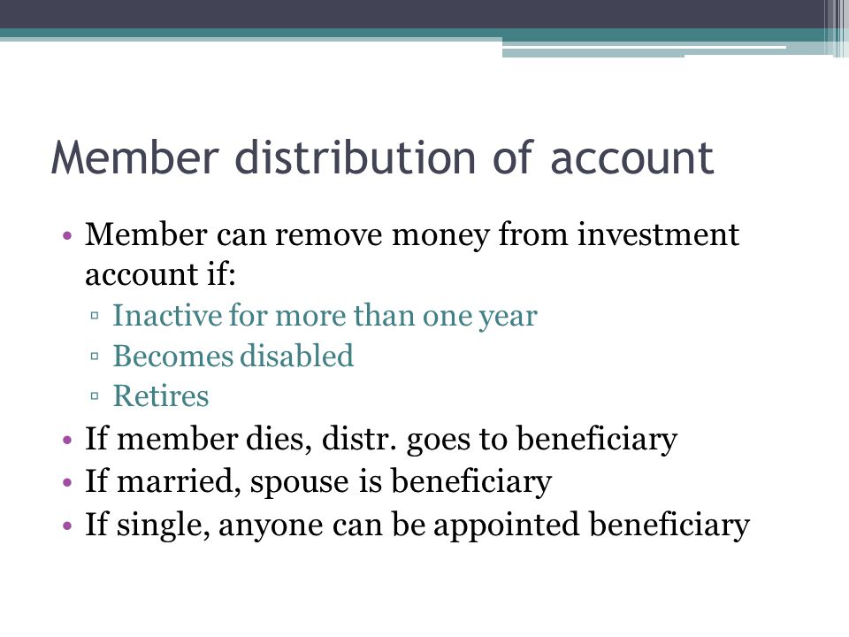Member distribution of account