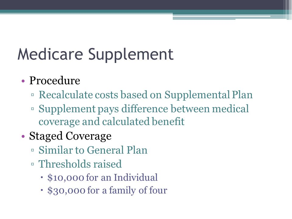 Medicare Supplement Procedure Staged Coverage