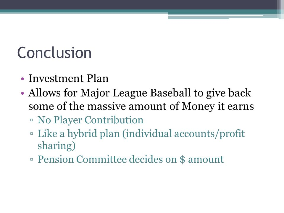 Conclusion Investment Plan