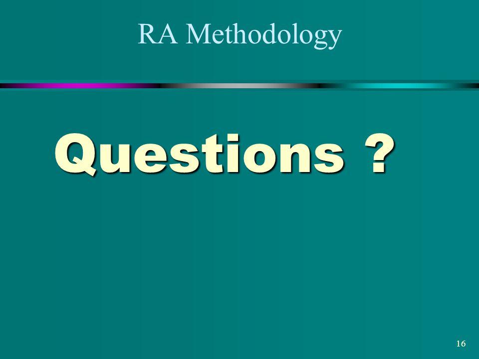 RA Methodology Questions