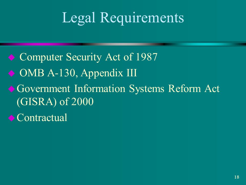 Legal Requirements Computer Security Act of 1987