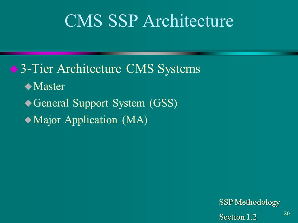 CMS SSP Architecture 3-Tier Architecture CMS Systems Master