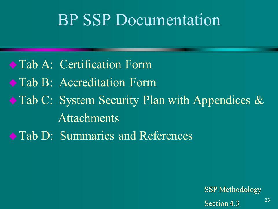 BP SSP Documentation Tab A: Certification Form