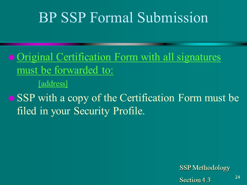BP SSP Formal Submission