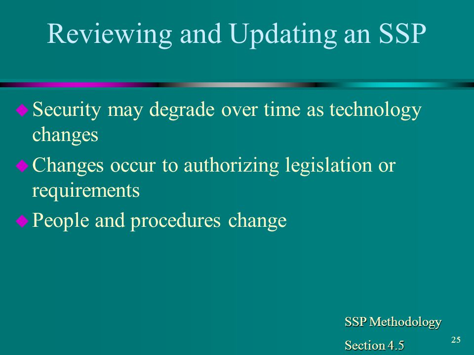 Reviewing and Updating an SSP