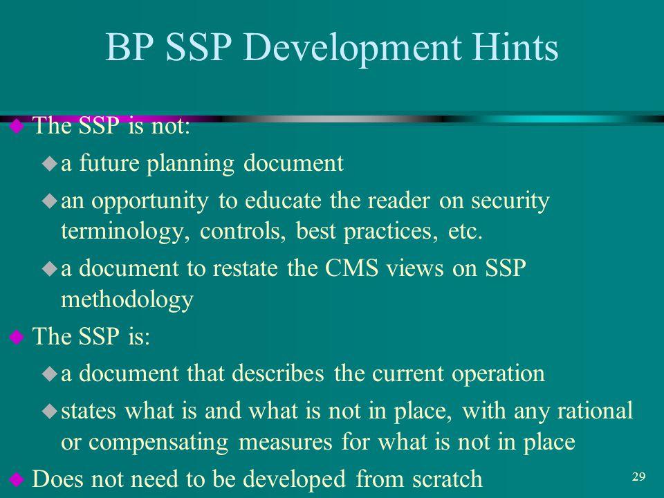 BP SSP Development Hints