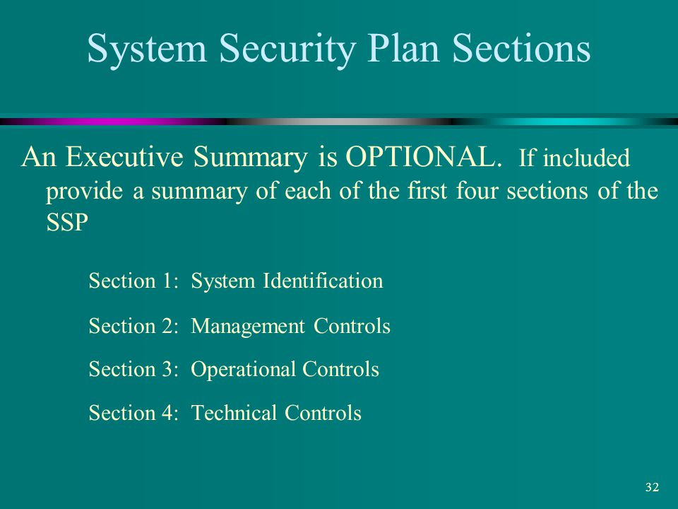 System Security Plan Sections