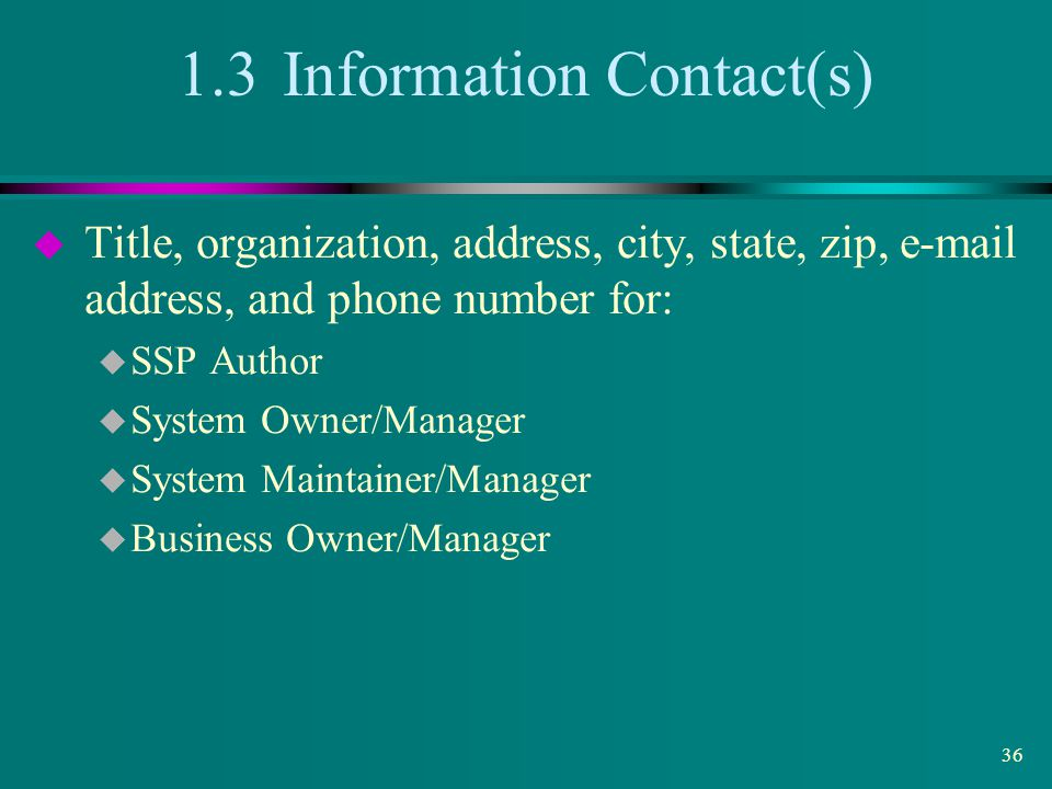 1.3 Information Contact(s)