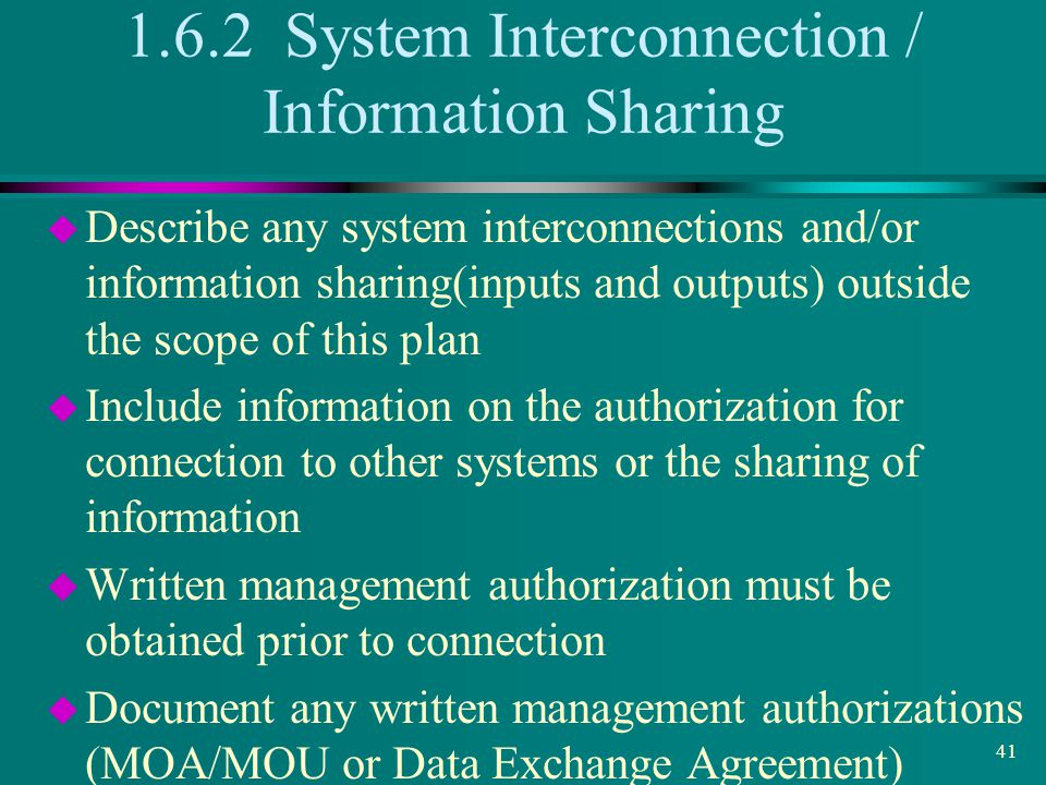 1.6.2 System Interconnection / Information Sharing