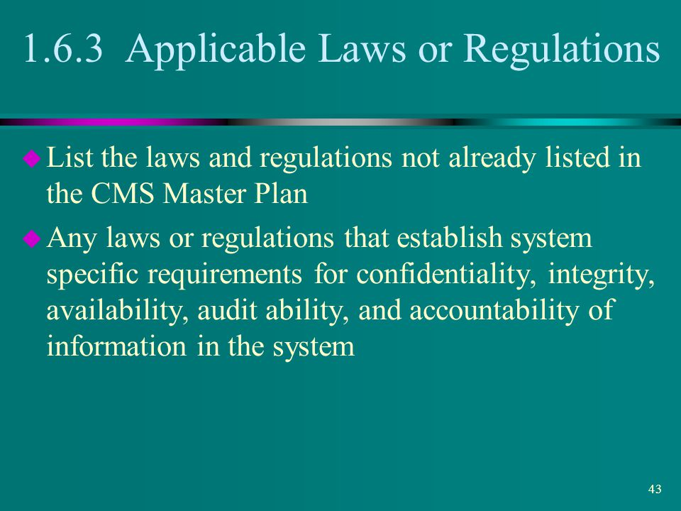 1.6.3 Applicable Laws or Regulations