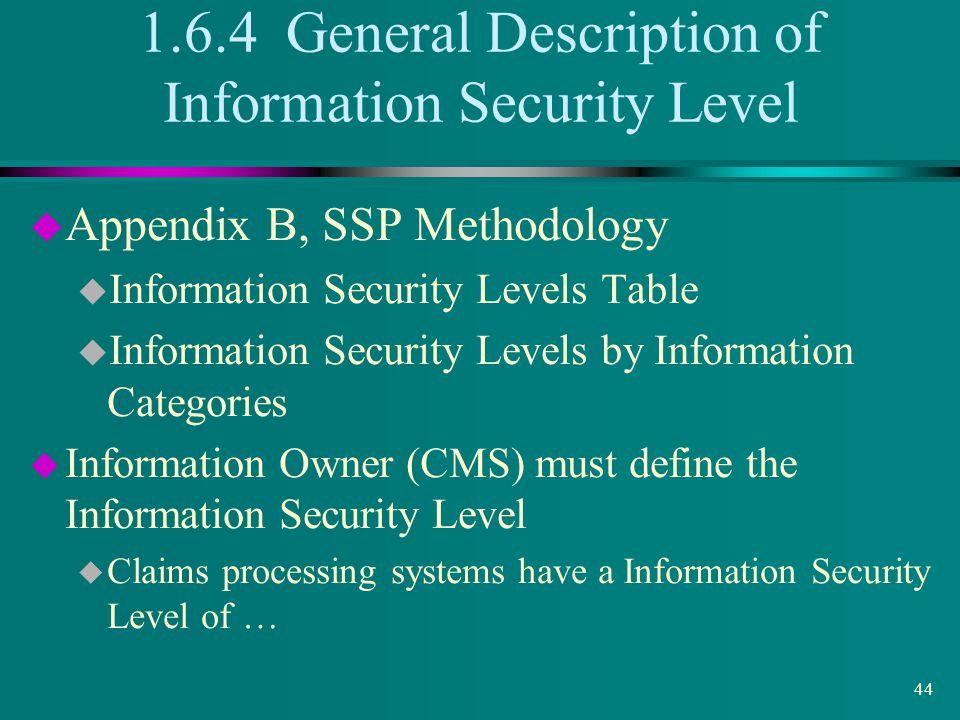 1.6.4 General Description of Information Security Level