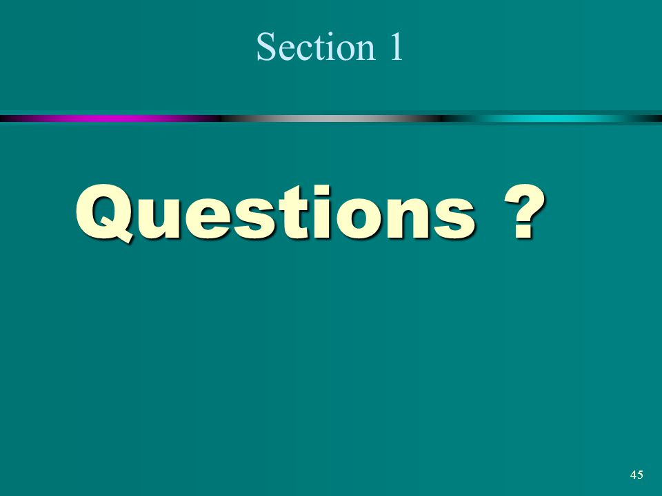 Section 1 Questions