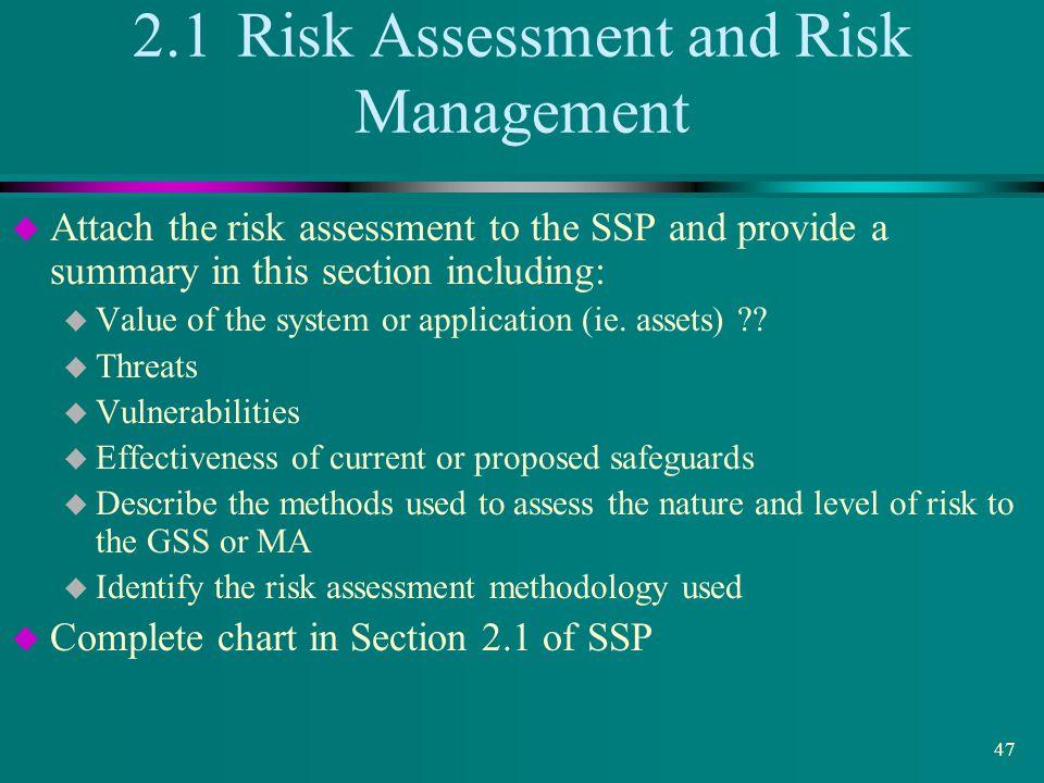 2.1 Risk Assessment and Risk Management