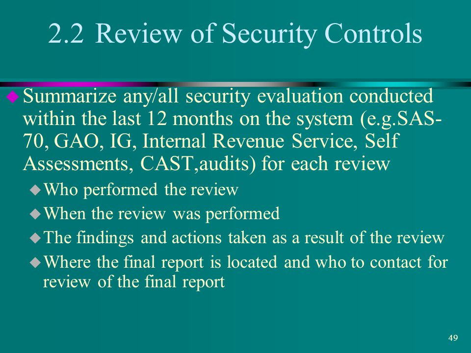 2.2 Review of Security Controls