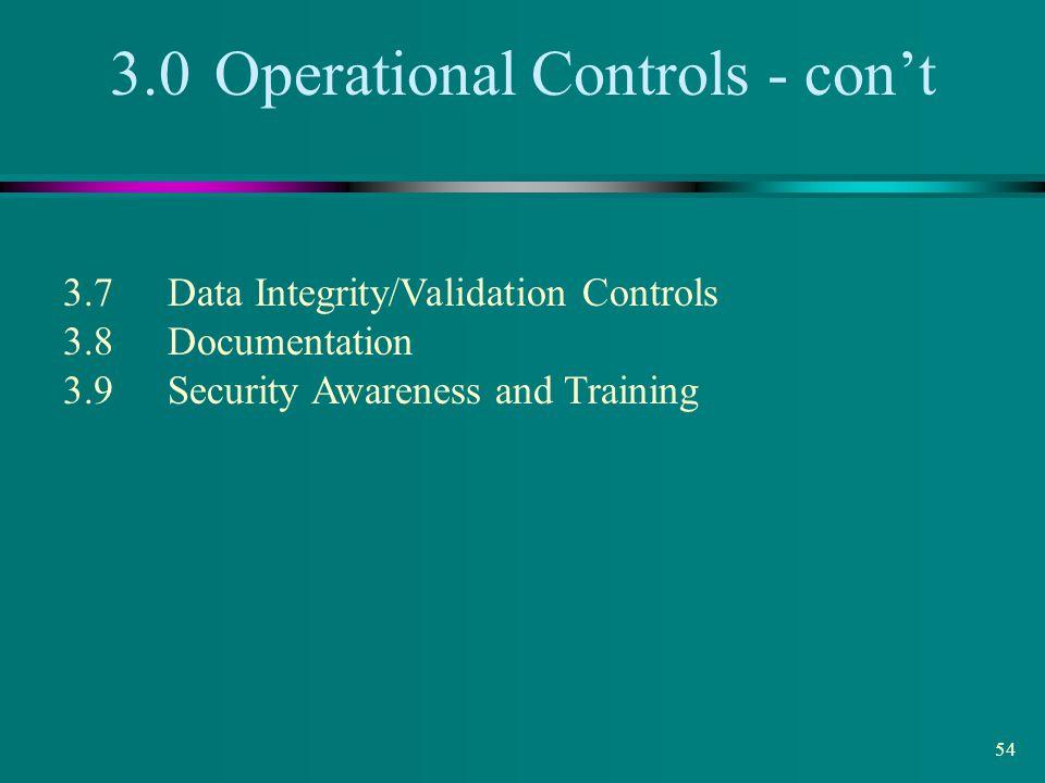 3.0 Operational Controls - con't