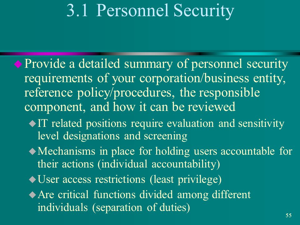3.1 Personnel Security