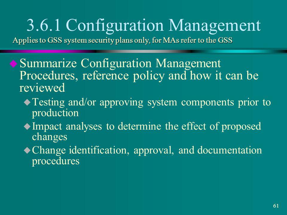 3.6.1 Configuration Management