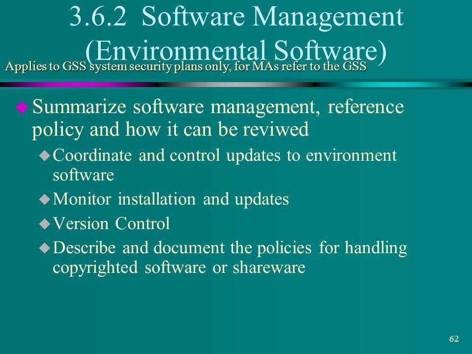 3.6.2 Software Management (Environmental Software)