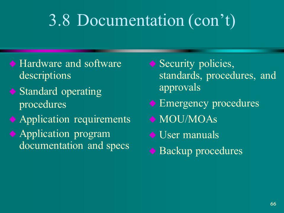 3.8 Documentation (con't)