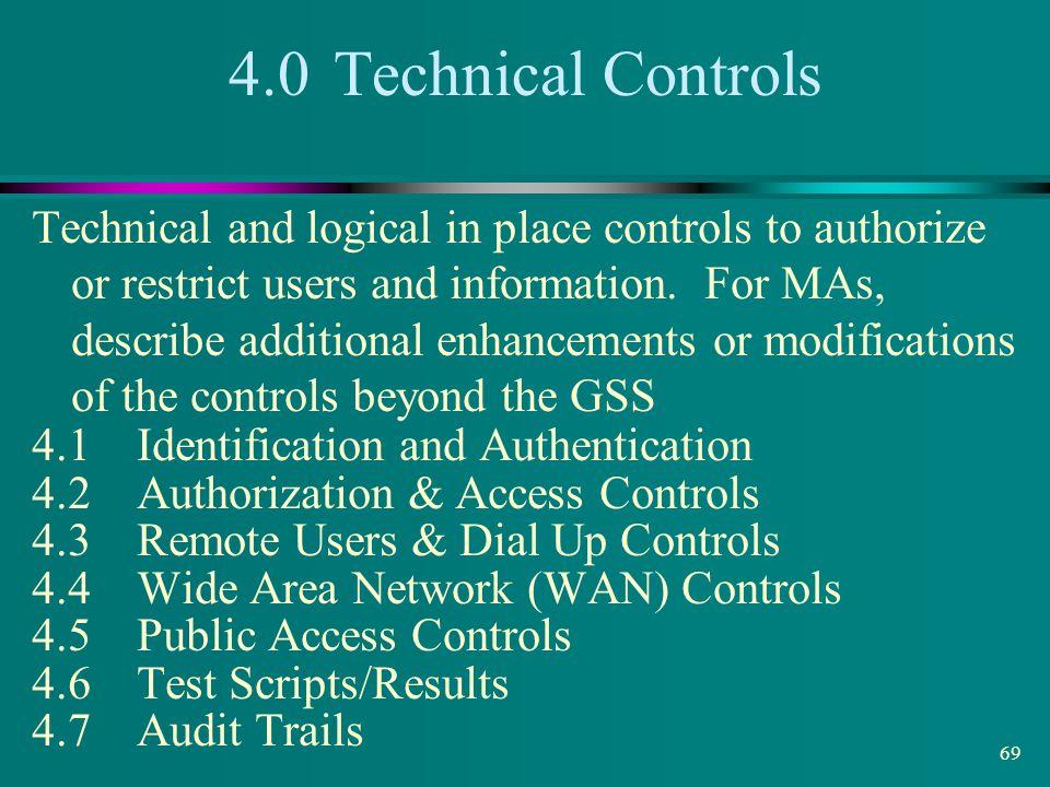 4.0 Technical Controls
