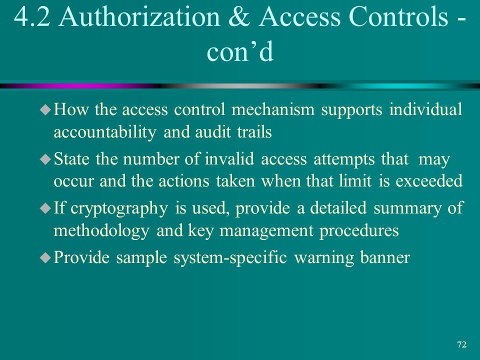 4.2 Authorization & Access Controls - con'd