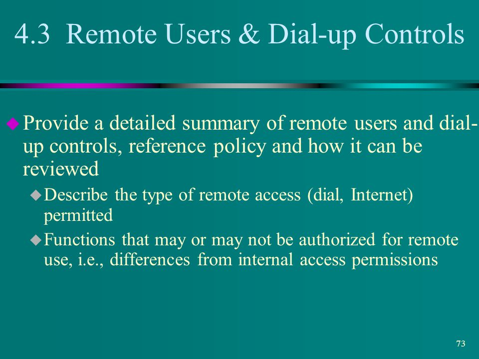 4.3 Remote Users & Dial-up Controls
