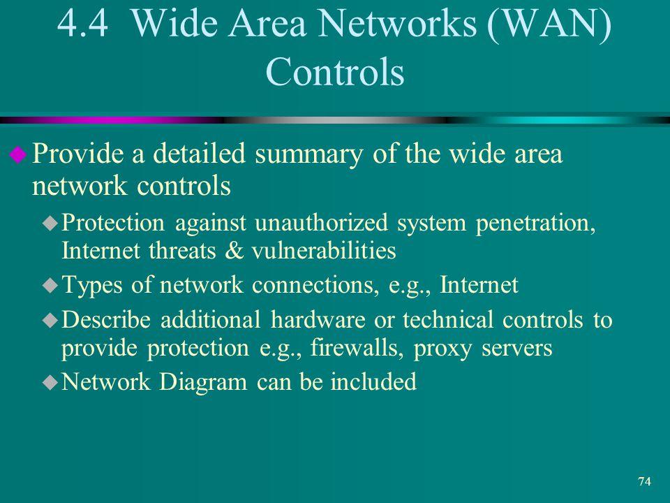 4.4 Wide Area Networks (WAN) Controls