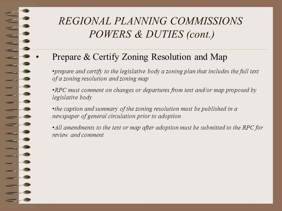 REGIONAL PLANNING COMMISSIONS POWERS & DUTIES (cont.)