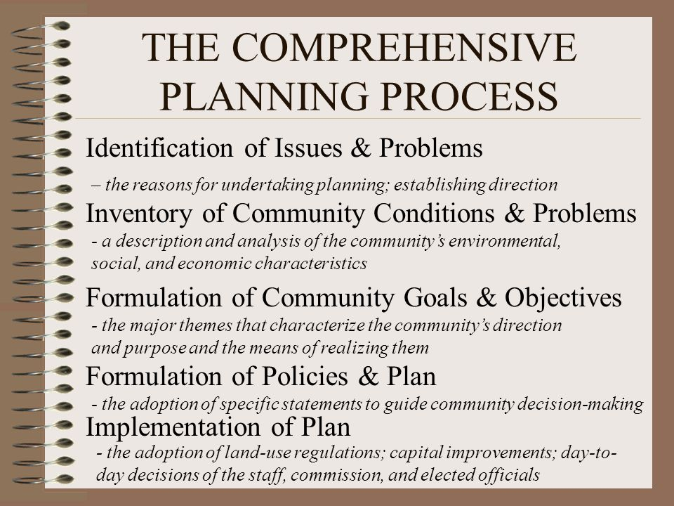THE COMPREHENSIVE PLANNING PROCESS