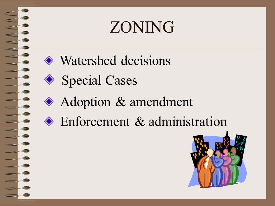 ZONING Special Cases Adoption & amendment Enforcement & administration