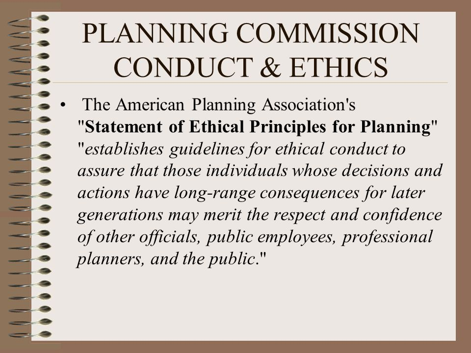PLANNING COMMISSION CONDUCT & ETHICS