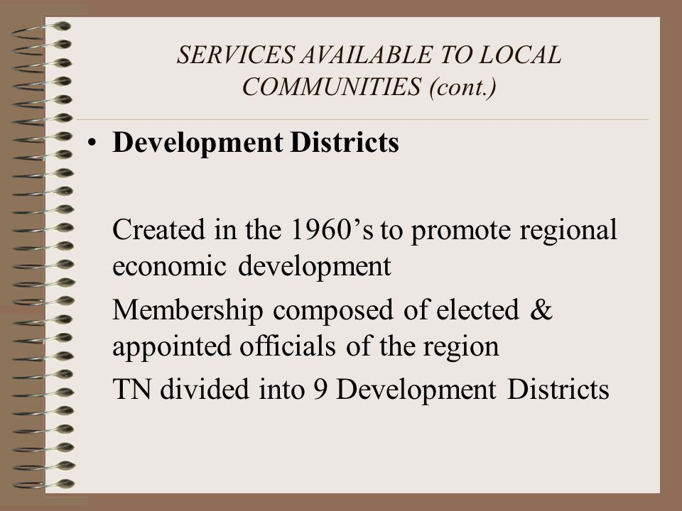 SERVICES AVAILABLE TO LOCAL COMMUNITIES (cont.)