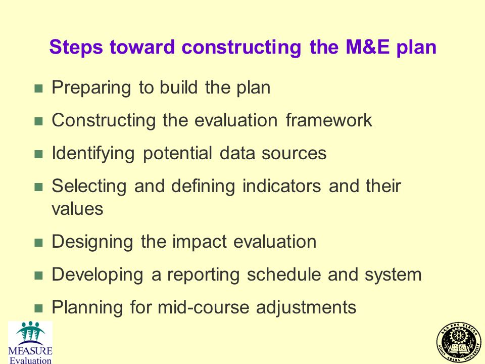 Steps toward constructing the M&E plan