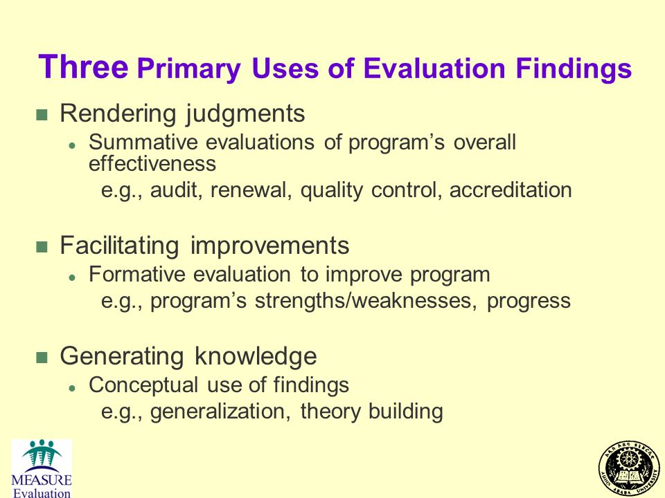 Three Primary Uses of Evaluation Findings