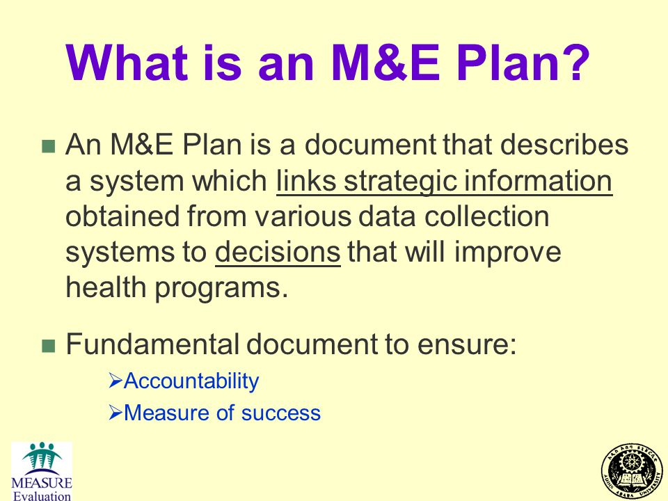 What is an M&E Plan