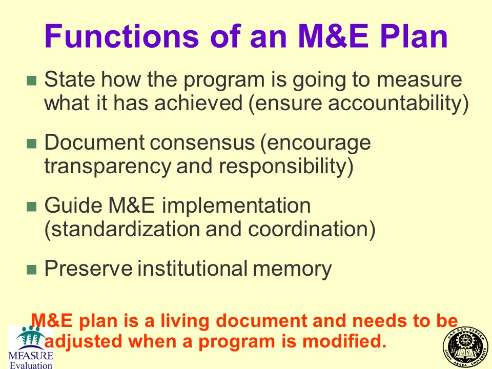 Functions of an M&E Plan