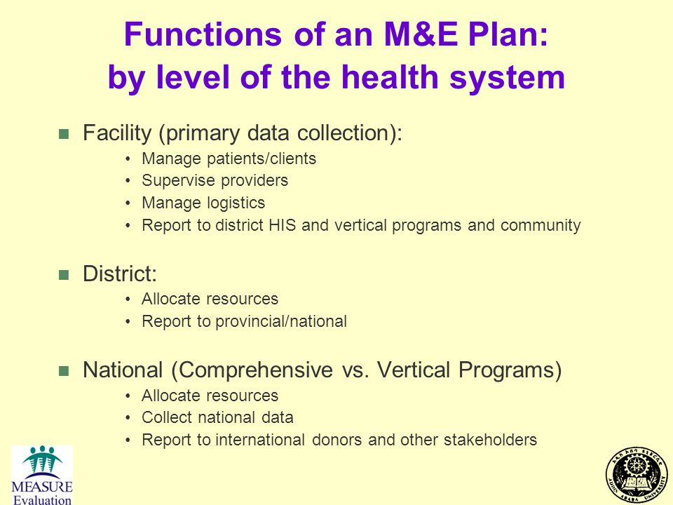 Functions of an M&E Plan: by level of the health system