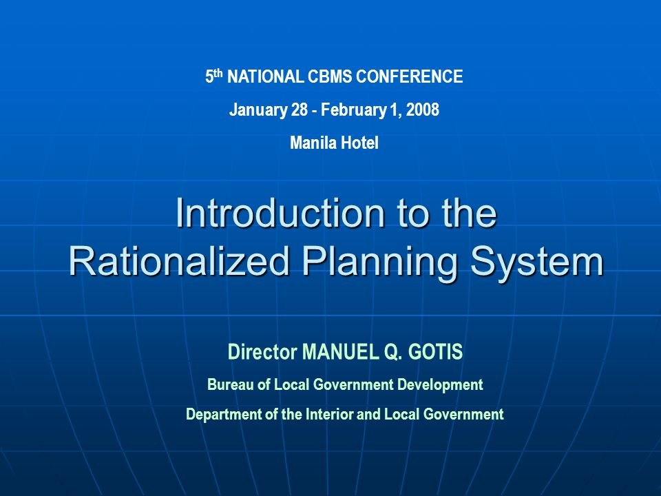Introduction to the Rationalized Planning System