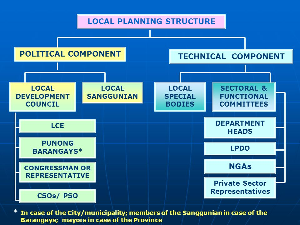 LOCAL PLANNING STRUCTURE POLITICAL COMPONENT TECHNICAL COMPONENT NGAs