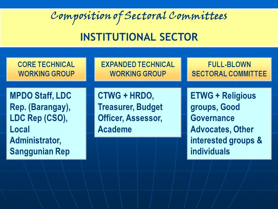 Composition of Sectoral Committees INSTITUTIONAL SECTOR