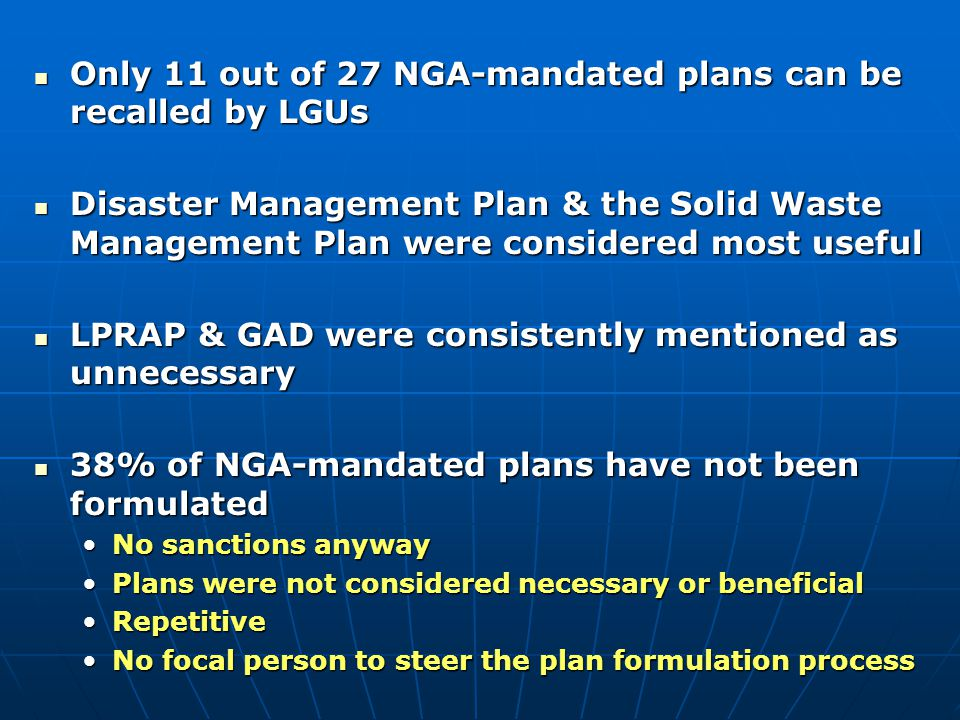 Only 11 out of 27 NGA-mandated plans can be recalled by LGUs
